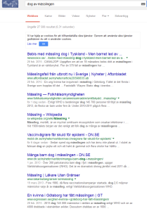 Googles SERP för mässling